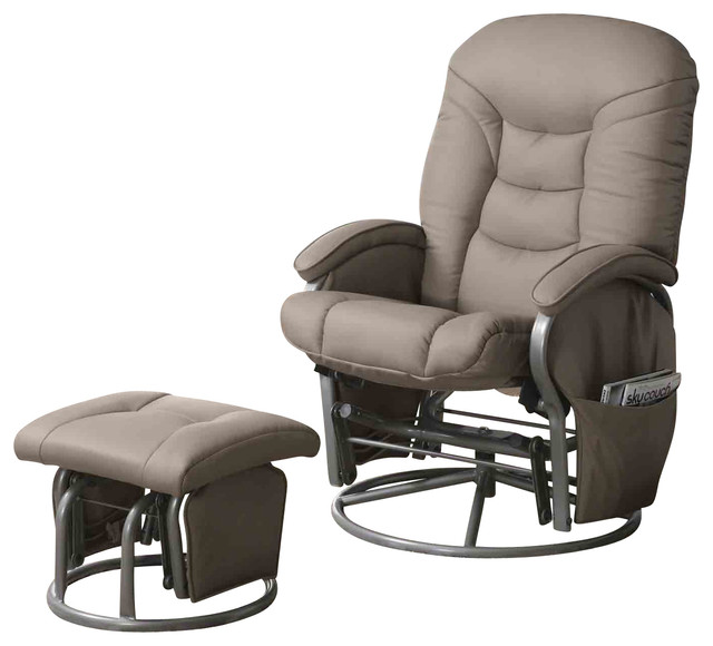 Casual Leatherette Glider Recliner With Matching Ottoman Set Beige contemporary-recliner-chairs  sc 1 st  Houzz : ottoman recliner - islam-shia.org