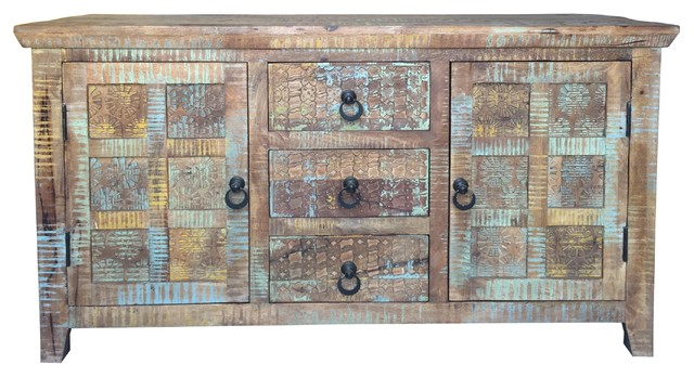 Aravali 3-Drawer Distressed Vintage Look Sideboard