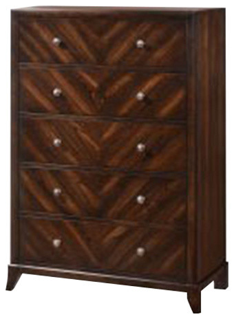 Wenge Mahogany Wood 5 Drawer Chest.