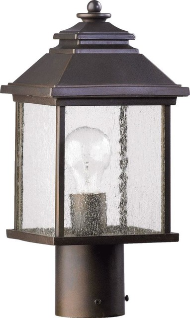 One Light Oiled Bronze Clear Seeded Glass Post Light.