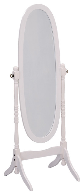 59.25 Tall Standing Wooden Floor Mirror With White Finish, Oval Shape.