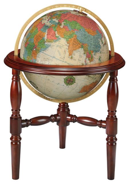 """Trenton, 20"""" Antique Illuminated Floor Globe"""