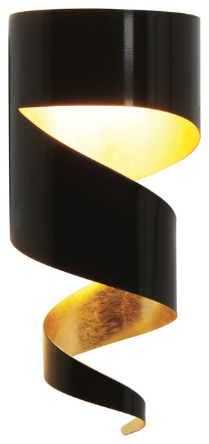 Remi Wall Light, Black and Gold Leaf