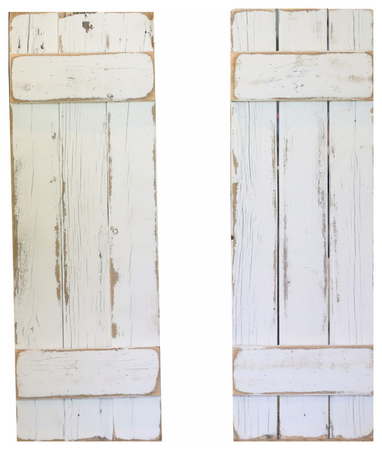 Farmhouse Decorative Shutters, Set Of 2, White.
