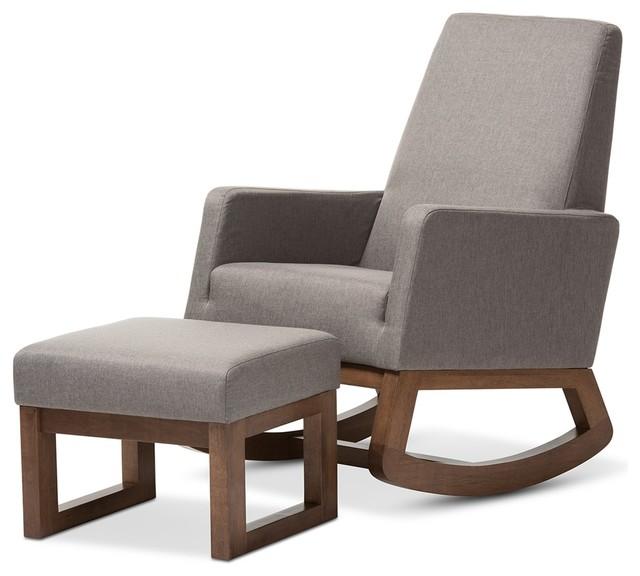 Beau Yashiya Retro Fabric Upholstered Rocking Chair And Ottoman Set, Gray