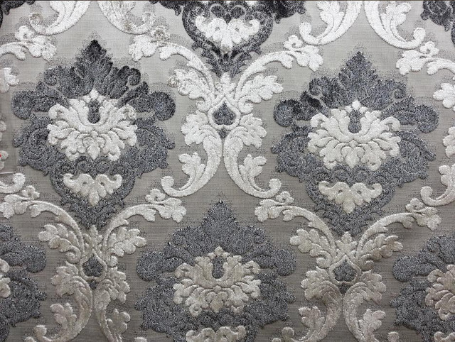 Parisian Cut Velvet Graphite Smoke Silver And Grey Damask