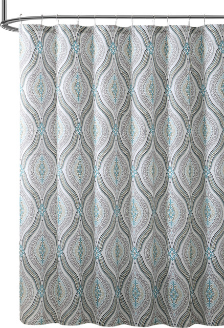 Elegant Fabric Shower Curtain Teardrop Paisley Print Blue Brown