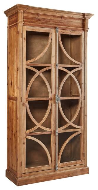 Pine Cupboard With Intiricate Glass Doors