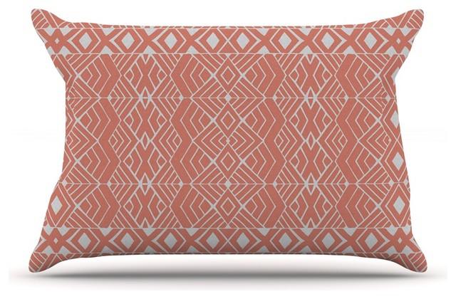 Pom Graphic Design Aztec Roots Orange Tribal Pillow Case