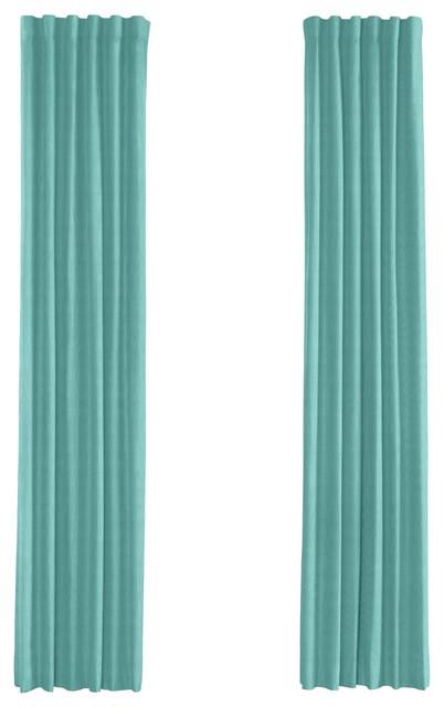 Bright Aqua Faux Linen Custom Drapery Single Panel - Contemporary ...