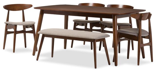 Flora Mid-Century Modern Wood 6-Piece Dining Set.
