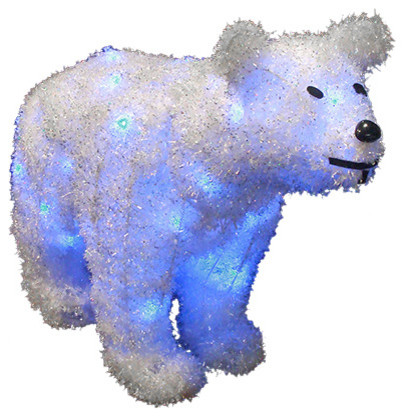 32 led lighted tinsel polar bear christmas decoration blue lights