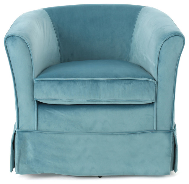 Hamilton Natural Fabric Swivel Chair With Loose Cover, Sky Blue.