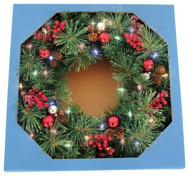 "Celebrations Castle Hill Prelit Christmas Wreath, Green, 26""."