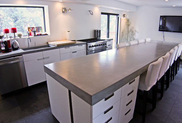 Concrete kitchen tops and island modern kitchen for Polished concrete kitchen countertops