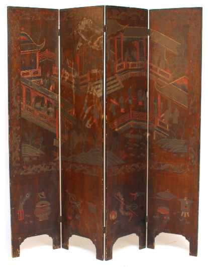 Chinese Carved Wood Pagoda Screen asian-screens-and-room-dividers - Chinese Carved Wood Pagoda Screen