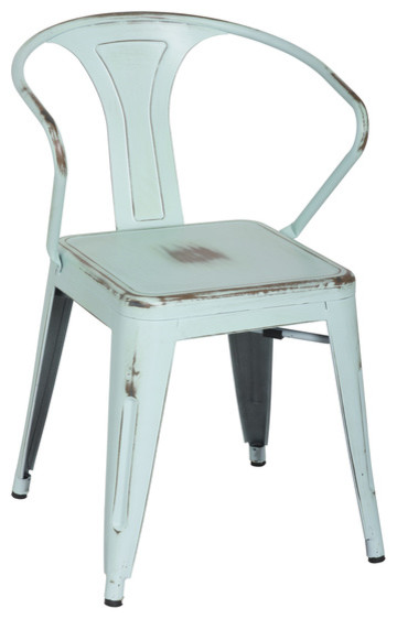 Charmant Retro Cafe Bastille Style Arm Chair, Blue Galvanized Steel