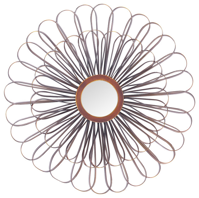 Metal Flower Mirror Wall Decor - Contemporary - Wall Mirrors - by Adeco
