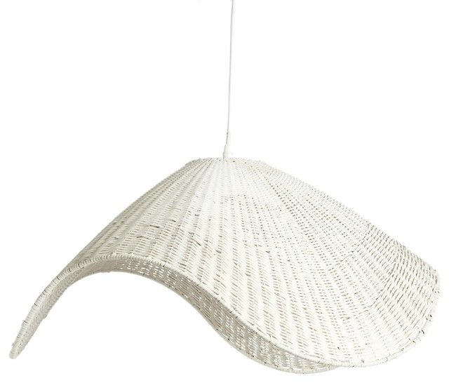 Contemporary Rattan And Iron Pendant Light Lighting By Simla