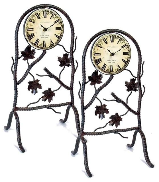 Wrought Iron Clocks Black Finish Set Of 2