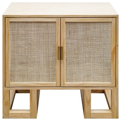 Worlds Away, Tucker Cabinet With Cane Door and Brass Hardware, Acacia Wood