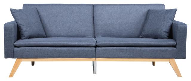 Modern Tufted Linen Splitback Recliner Sleeper Futon Sofa, Dark Grey.