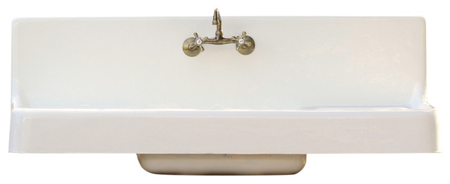 Farm Sink Drainboard High Back Apron Cast Iron Porcelain Kitchen ...