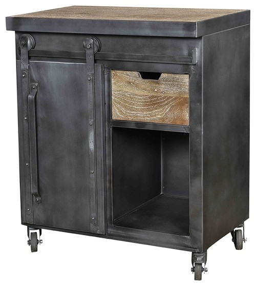 35 T Industrial Cabinet Mango Wood Industrial Steel Iron in Gunmetal Finish