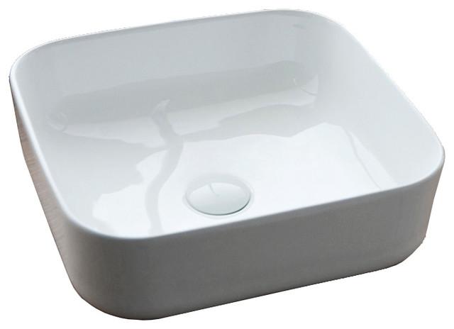 Helsinki White Bathroom Sink, Square