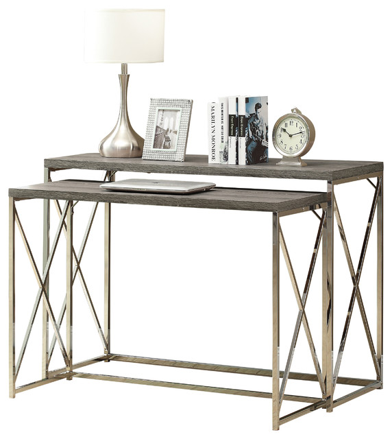 Console Table Piece Cappuccino With Chrome Metal - Contemporary coffee table sets