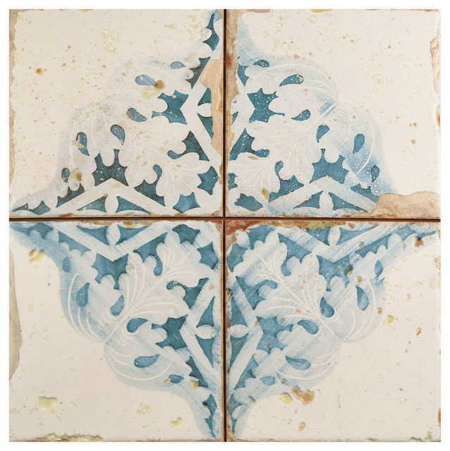 "13""x13"" Artesano Ceramic Floor/Wall Tiles, Set of 10, Azul Decor"