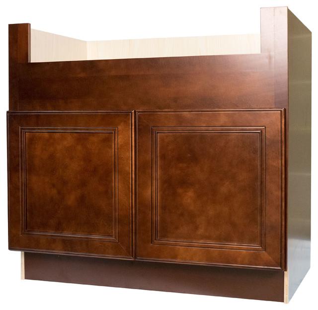 cherry mahogany brown leo saddle farm house apron sink base