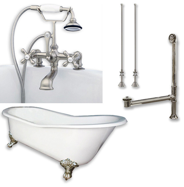 """Cast Iron Slipper Clawfoot Tub 61"""", Brushed Nickel Plumbing Package."""