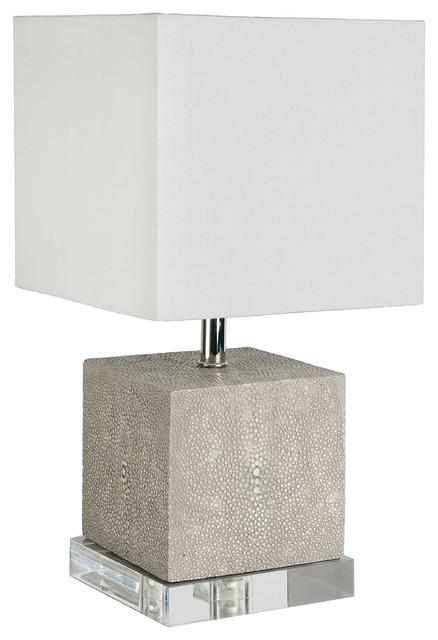 Sturgis Modern Faux Shagreen Grey Acrylic Mini Lamp.