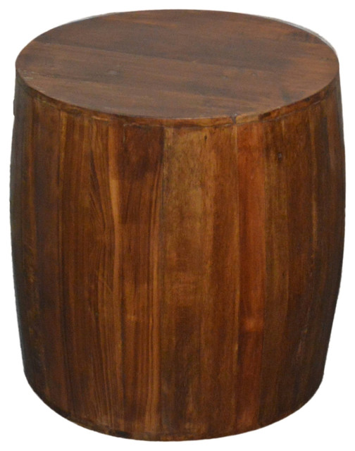 Reclaimed Wood Drum Barrel Stool Rustic Accent And