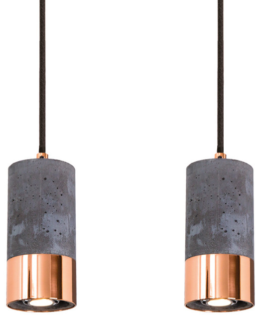 Dark Concrete and Polished Copper Pendant Lights, Set of 2