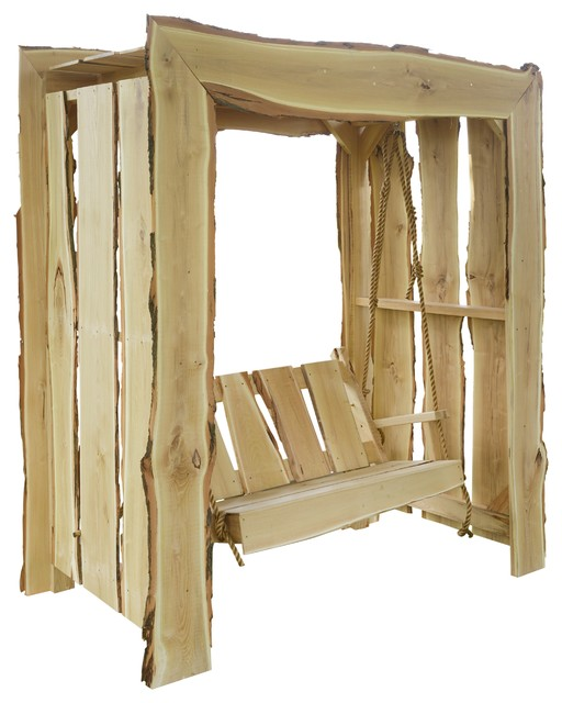 Live Edge Locust 5 Foot Arbor with Matching 4 Foot Porch Swing, Unfinished