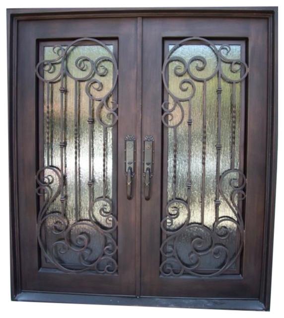 Elite 2773 61x81 Iron Door Square Top Rain Glass Right Hand
