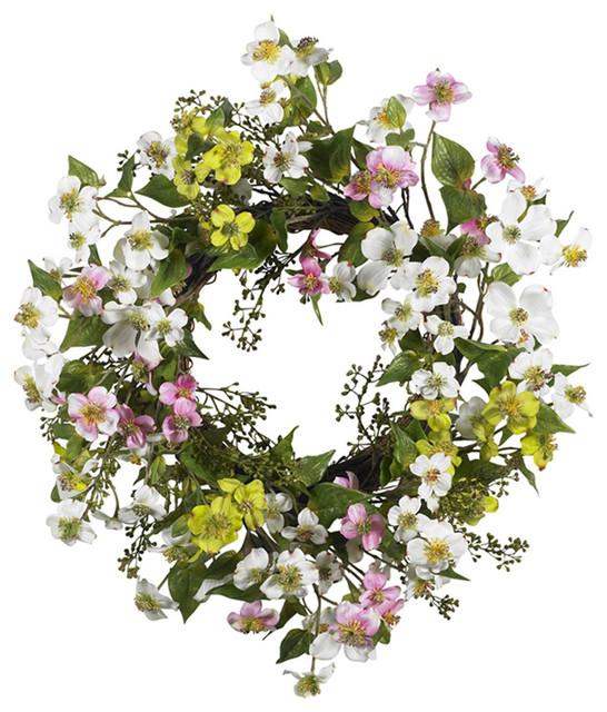 "Nearly Natural 20"" Dogwood Wreath Asst."