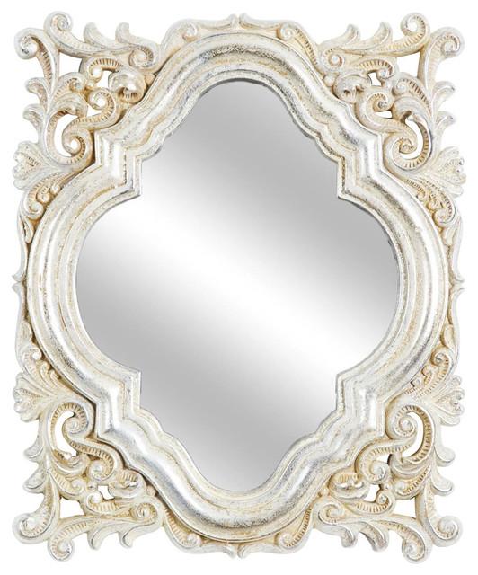 "Elongated Quatrefoil Wall Mirrors, Champagne, 11""x13"", Set Of 3."