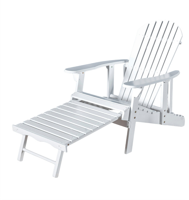 Katherine Outdoor Reclining Wood Adirondack Chair With Footrest, White