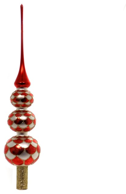 Christina's World Red/White Harlequin Tree Top Finial Ball Christmas Fin937 - Contemporary - Christmas Ornaments - by Story Book Kids Inc