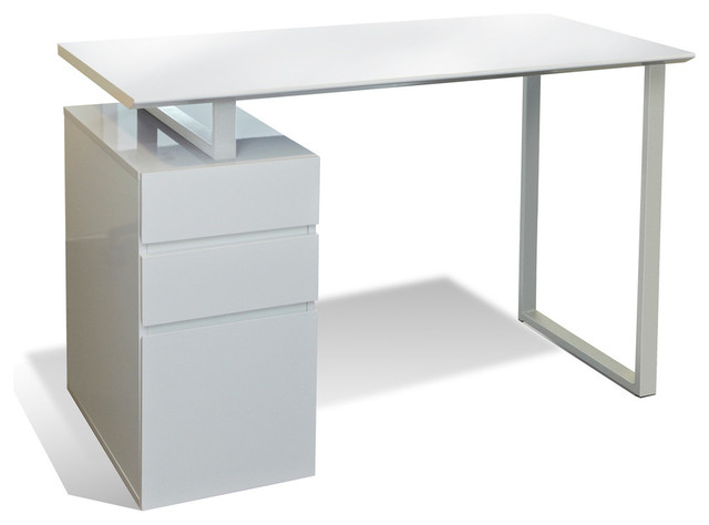 Gardenia Desk With 3 Drawers, White.