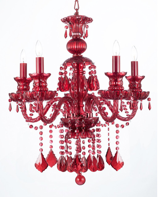 Ruby red crystal chandelier 5 light traditional chandeliers by ruby red crystal chandelier 5 light aloadofball Images