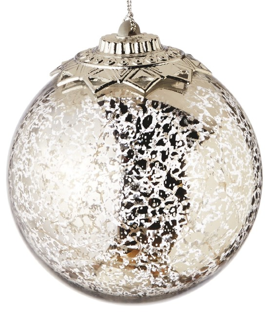 Lights Up Silver Crackle Ball Christmas Holiday 4 5 Inch Ornament Midwest Cbk Contemporary Christmas Ornaments By Mary B Decorative Art