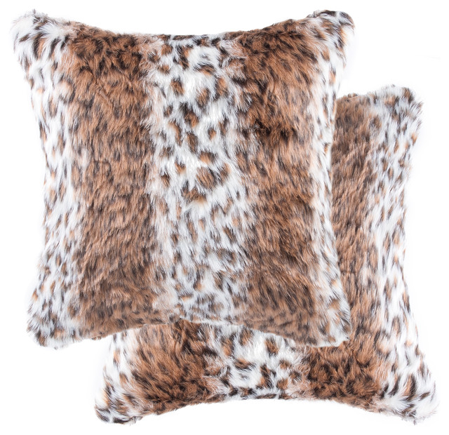 Faux Fur Pillow And Throw Set.Belton Faux Fur Pillow 18 X18 Georgetown Lynx Set Of 2
