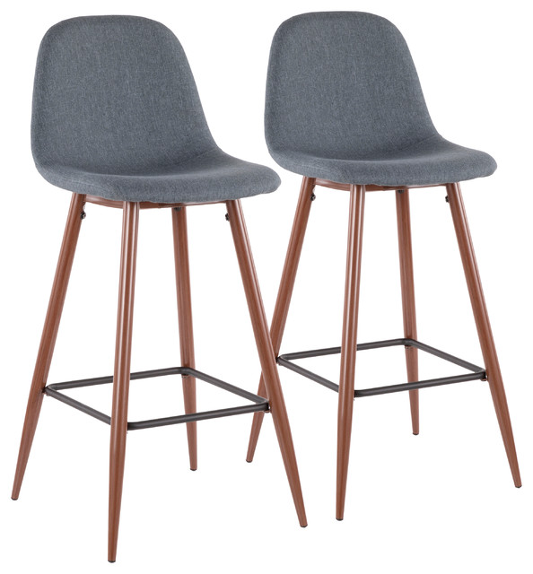Swell Pebble Mid Century Modern Barstool In Walnut Metal And Blue Fabric Set Of 2 Squirreltailoven Fun Painted Chair Ideas Images Squirreltailovenorg