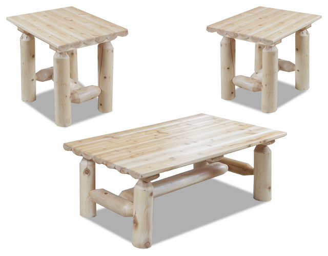 Chelsea Home Easton Log Coffee And End Tables Set Of 3 Coffee Table Sets Houzz