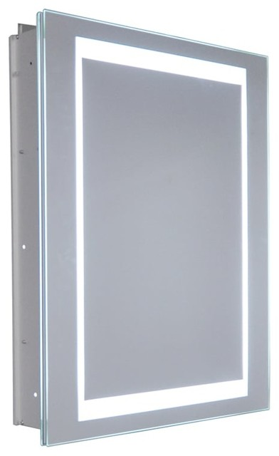 "Frameless Mirrored Recess-Mounted Medicine Cabinet, 26""x20""."