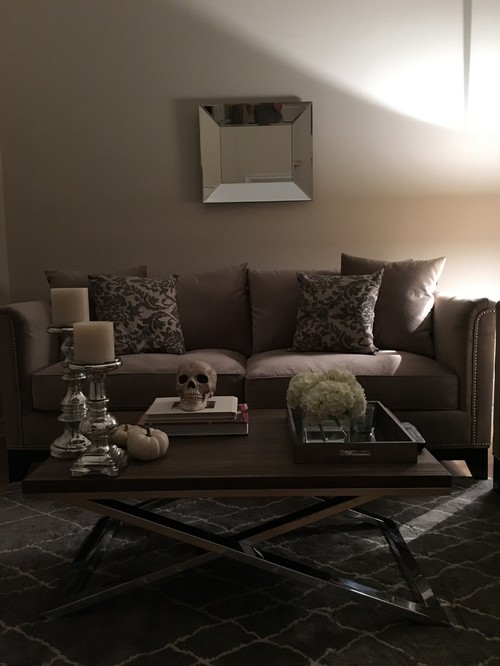 Decorative Mirror Above Couch Needs Something!